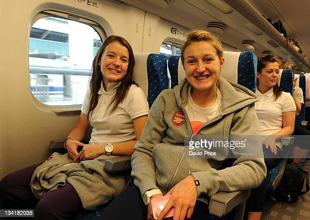 Angharad James and Ellen White of Arsenal Ladies FC on the bullet train to Kyoto during their tour to Japan on November 27 2011 in Kyoto Japan