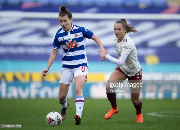 Angharad James and Lia Wälti of Arsenal during the Barclays FA Women's Super League match between Reading Women and Arsenal Women at Madejski Stadium...