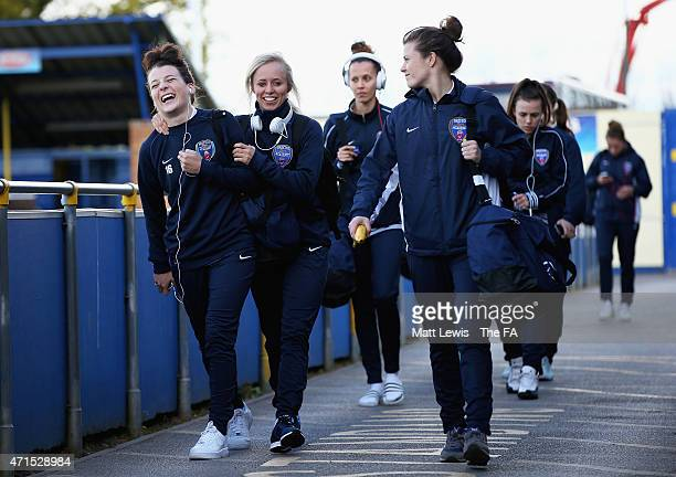 Angharad James and Nadia Lawrence of Bristol Academy Women arrive ahead of the FA WSL match between Birmingham City Ladies and Bristol Academy Women...