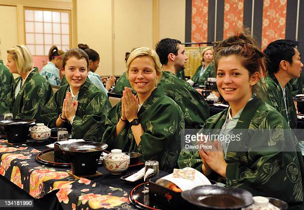 Angharad James Gilly Flaherty and Bianca Bragg of Arsenal Ladies FC players eat a traditional Japanese Meal in their hotel in Kyoto during their tour...