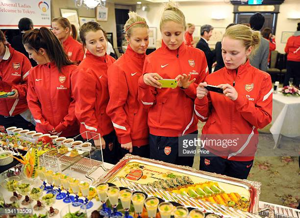 Angharad James Lilly Agg Steph Houghton and Kim Little of Arsenal Ladies FC during an official welcome dinner during their tour to Japan on November...