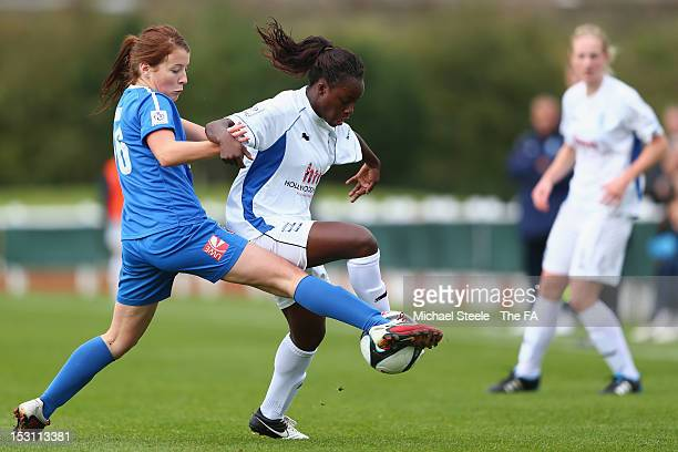 Angharad James of Bristol Academy Women's FC challenges Eni Aluko of Birmingham City Ladies FC during the FA WSL match between Bristol Academy...