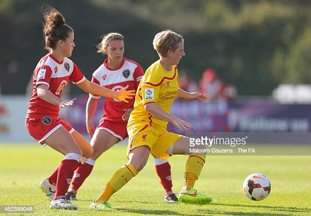 Angharad James of Bristol challenges Natasha Dowie of Liverpool during the FA WSL game between Bristol Academy Women and Liverpool Ladies at Stoke...