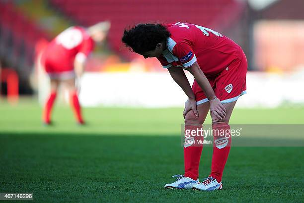 Angharad James of Bristol looks dejected at the final whistle during the UEFA Womens Champions League Quarter Final match between Bristol Academy...