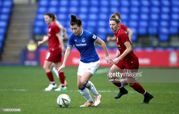 Angharad James of Everton Ladies FC controls the ball during the FA Continental Tyres Cup match between Liverpool FC and Everton Ladies FC at Prenton...
