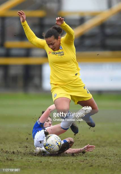 Angharad James of Everton tackles Drew Spence of Chelsea during the FA Cup Fourth round match between Everton Ladies and Chelsea Women on February 03...