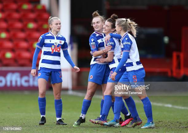 Angharad James of Reading FC celebrates with her team mates after scoring her sides first goal during the Barclays FA Women's Super League match...