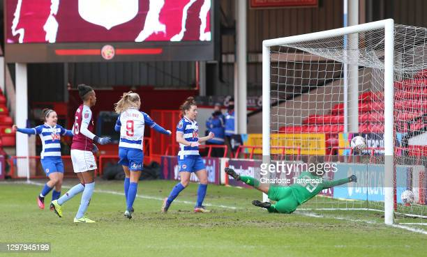 Angharad James of Reading FC scores hers sides first goal past Lisa Weis of Aston Villa during the Barclays FA Women's Super League match between...