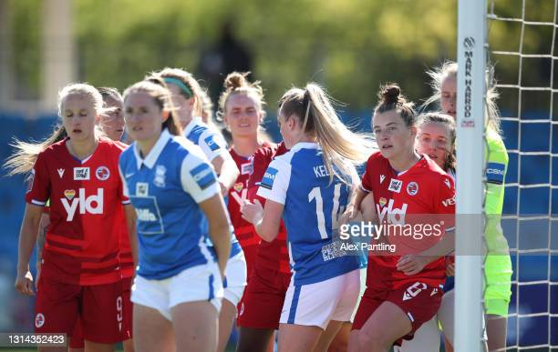 Angharad James of Reading looks on as players fight for a position from a corner during the Barclays FA Women's Super League match between Birmingham...