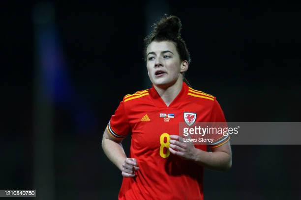 Angharad James of Wales Women looks on during the International Friendly between Wales Women and Estonia Women at the Racecourse Ground on March 06...