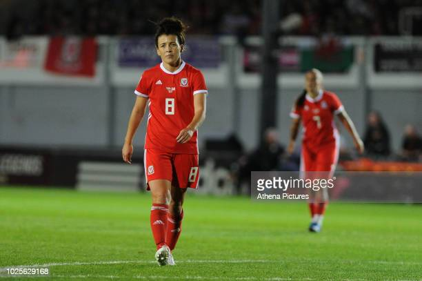 Angharad James of Wales Women walks in the field during the FIFA Women's World Cup Qualifier match between Wales and England at Rodney Parade on...