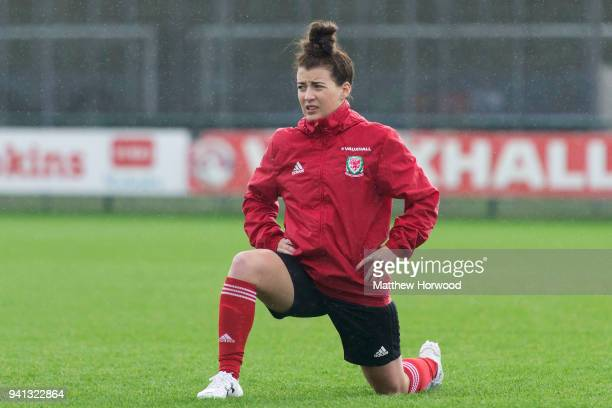 Angharad James warms up as the Wales women team train at Dragon Park ahead of the FIFA Women's World Cup match between England and Wales on April 3...