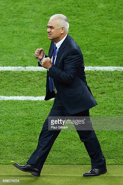 Anghel Iordanescu manager of Romania reacts during the UEFA Euro 2016 Group A match between France and Romania at Stade de France on June 10, 2016 in...
