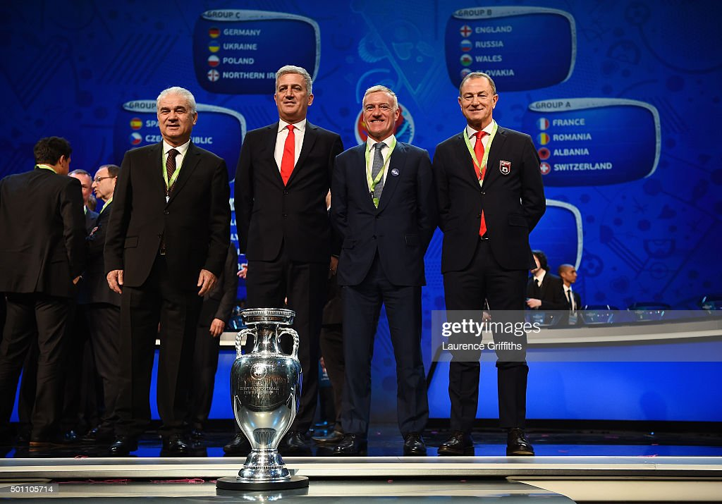 Anghel Iordanescu (1st L) Manager of Romania, Vladimir Petkovic (2nd L) Manager of Switzerland, Didier Deschamps (2nd R) Manager of France, Gianni De Biasi (1st R)Manager of Albania during the UEFA Euro 2016 Final Draw Ceremony at Palais des Congres on December 12, 2015 in Paris, France.
