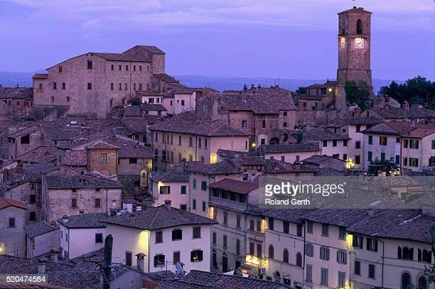 anghiari at twilight, vitaleta, tuscany, italy - 時計台 ストックフォトと画像