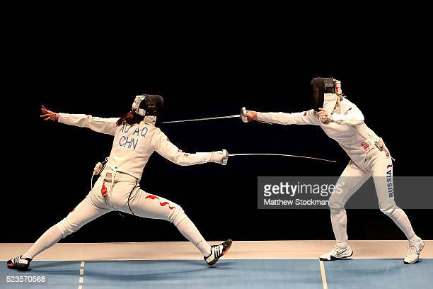 Angi Xu of China fences Tatiana Logunova of Russia in the final of the women's Epee during the International Fencing Tournament Aquece Rio Test Event...