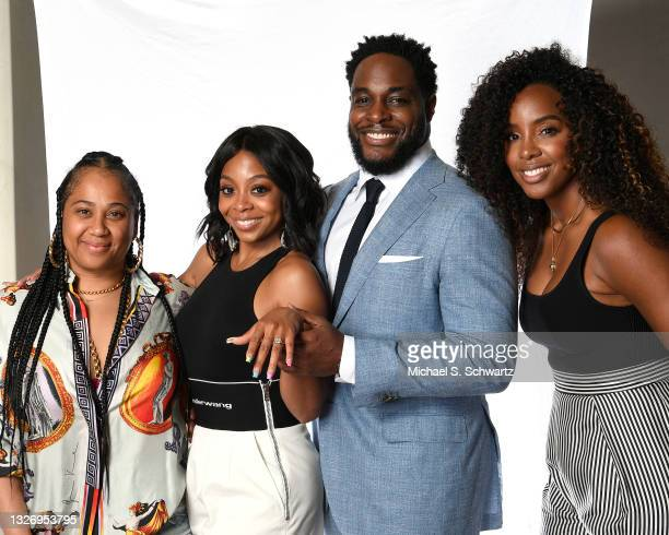 Angie Beyince, actress Bresha Webb, Nick Jones Jr., and singer Kelly Rowland pose during their attendance at the Nick Jones Jr. And Bresha Webb's...