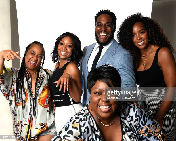 Angie Beyince, actress Bresha Webb, Nick Jones Jr., singer Kelly Rowland and comedian Loni Love pose during their attendance at the Nick Jones Jr....