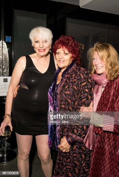 Angie Bowie and Dana Gillespie attend the after party for UK Premiere of 'BESIDE BOWIE The Mick Ronson Story' at The Mayfair Hotel on May 08 2017 in...