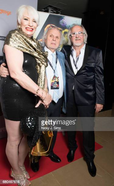 Angie Bowie and Jon Brewer attend the UK Premiere of Jon Brewer's 'BESIDE BOWIE The Mick Ronson Story' at The Mayfair Hotel on May 08 2017 in London...
