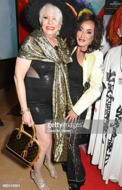 """Angie Bowie and Nancy Dell'Olio attend a VIP screening of """"Beside Bowie: The Mick Ronson Story"""" at The May Fair Hotel on May 8, 2017 in London,..."""