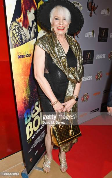 """Angie Bowie attends a VIP screening of """"Beside Bowie: The Mick Ronson Story"""" at The May Fair Hotel on May 8, 2017 in London, England."""