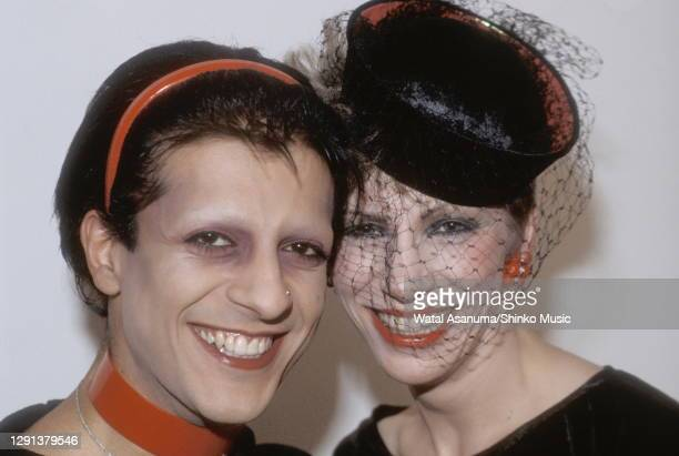 Angie Bowie backstage at the BBC TV show 'The Old Grey Whistle Test' with Mick Karn, bass player from the band Japan, London, 8th December 1982.