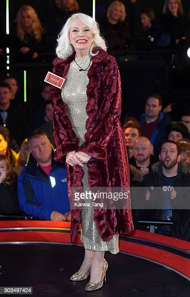 Angie Bowie enters the Celebrity Big Brother House at Elstree Studios on January 5, 2016 in Borehamwood, England.