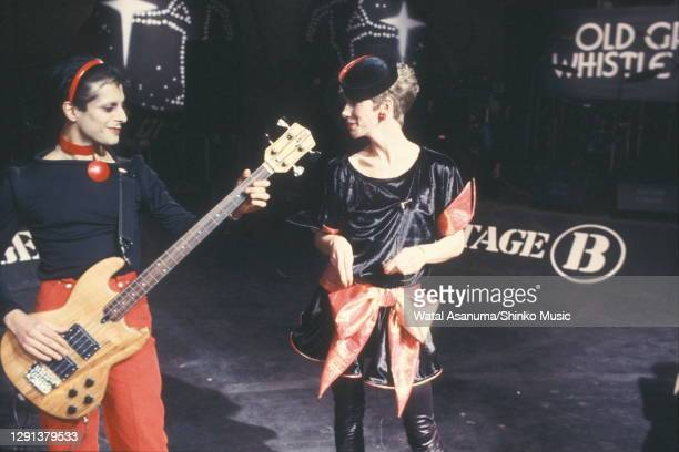 Angie Bowie performs on the BBC TV show 'The Old Grey Whistle Test' with Mick Karn, bass player from the band Japan, London, 8th December 1982.