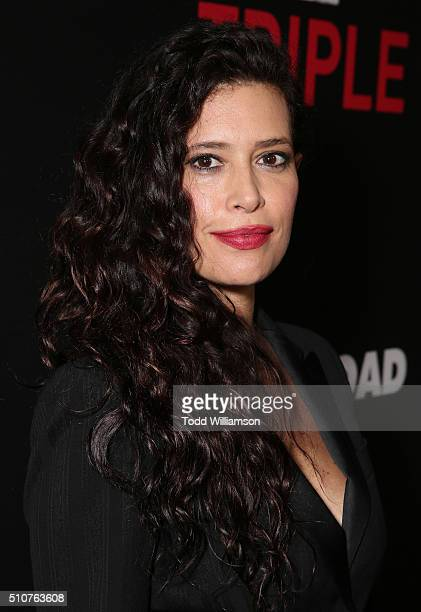 """Angie Cepeda attends the premiere Of Open Road's """"Triple 9"""" at Regal Cinemas L.A. Live on February 16, 2016 in Los Angeles, California."""