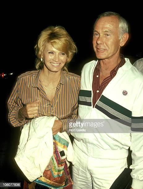 Angie Dickinson and Johnny Carson during Angie Dickinson and Johnny Carson Sighting at Spago's Restaurant August 2 1983 at Spago's Restaurant in...