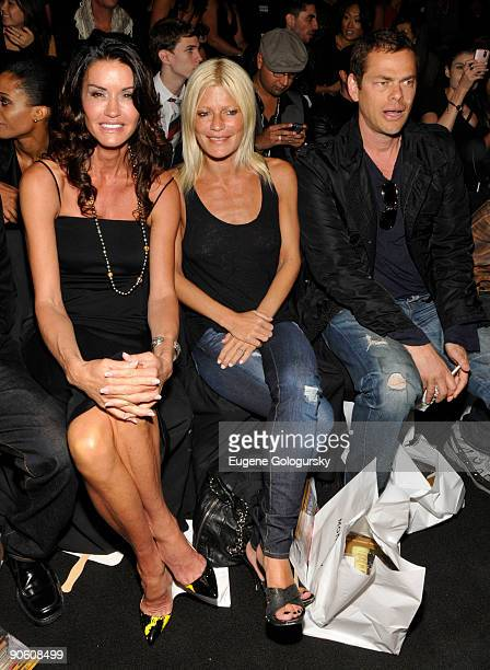 Angie Dickinson Lizzie Grubman and Vince Shlomi attend the Monarchy Show during MercedesBenz Fashion Week Spring 2010 at Bryant Park on September 11...