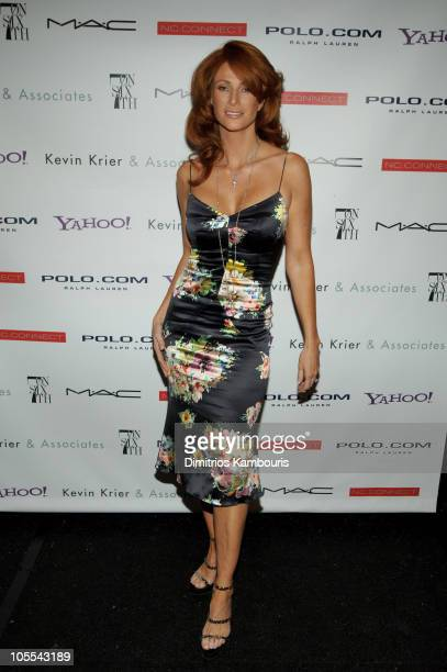 Angie Everhardt during Olympus Fashion Week Spring 2006 Fashion For Relief Backstage at Bryant Park in New York City New York United States