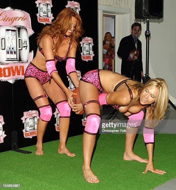 Angie Everhart and Andra Cobb during Lingerie Bowl 2004 at Quixote Studios in Hollywood, CA, United States.