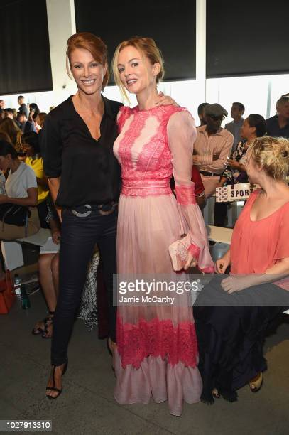 Angie Everhart and Heather Graham attend the Tadashi Shoji front row during New York Fashion Week The Shows at Gallery I at Spring Studios on...
