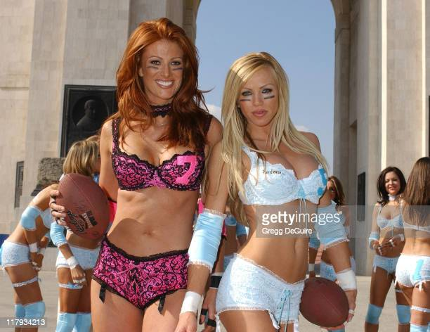 Angie Everhart and Nikki Ziering during Press Conference for This Week's 1st Annual Lingerie Bowl at Los Angeles Coliseum in Los Angeles California...