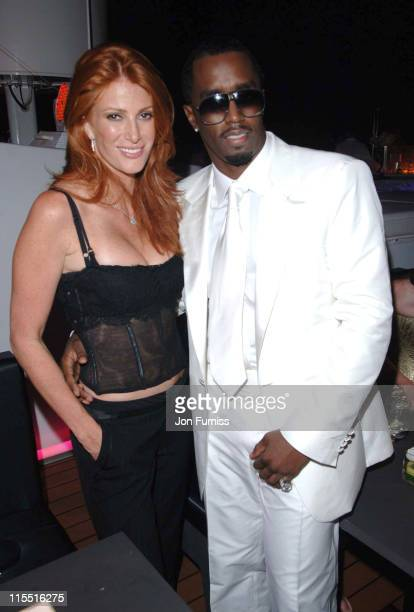 "Angie Everhart and Sean ""P Diddy"" Combs during ""Unforgivable"" Fragrance Celebration - Dinner - St. Tropez - France in St Tropez, France."