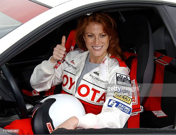 Angie Everhart during 27th Annual Toyota Pro/Celebrity Race Press Day at Streets of Long Beach in Long Beach California United States