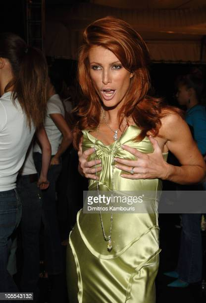Angie Everhart during Olympus Fashion Week Spring 2006 Fashion For Relief Backstage at Bryant Park in New York City New York United States