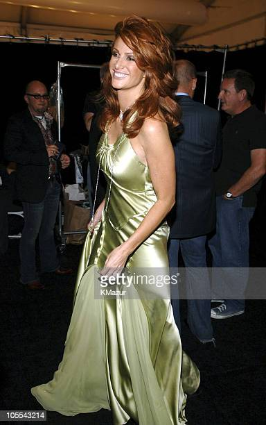 Angie Everhart during Olympus Fashion Week Spring 2006 - Fashion For Relief - Backstage at Bryant Park in New York City, New York, United States.