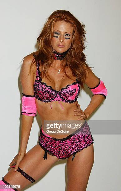 Angie Everhart during Unveiling for Lingerie Bowl 2004 at Quixote Studios in Hollywood California United States