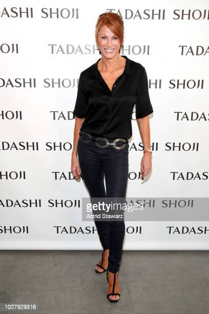 Angie Everhart poses backstage for the Tadashi Shoji show during New York Fashion Week The Shows at Gallery I at Spring Studios on September 6 2018...