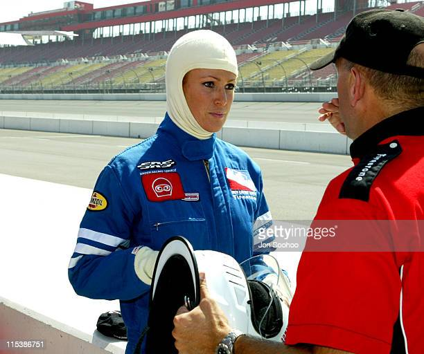 Angie Everhart prepares to take a ride in an Indy Car two seater