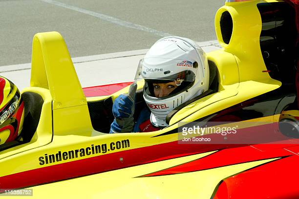 Angie Everhart takes a ride in an Indy Car two seater