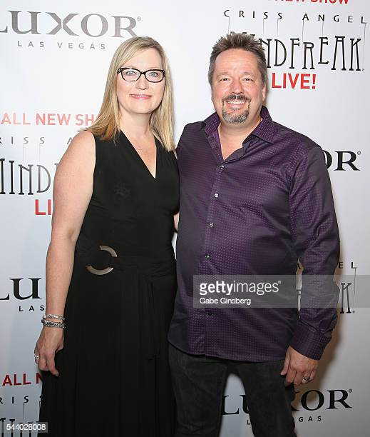 Angie Fiore and her husband comic ventriloquist and impressionist Terry Fator attend the world premiere of Criss Angel Mindfreak Live at the Luxor...