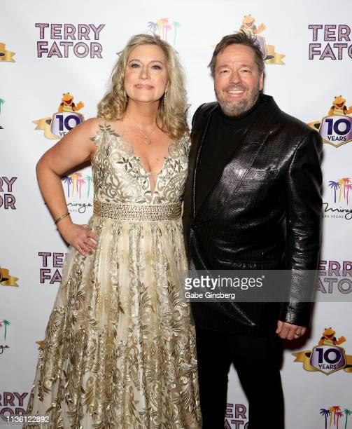 Angie Fiore Fator and her husband comic ventriloquist and impressionist Terry Fator attend his 10th anniversary show at The Mirage Hotel Casino on...