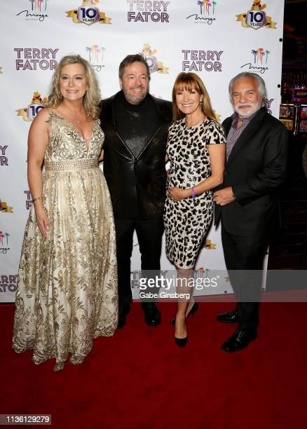 Angie Fiore Fator and her husband comic ventriloquist and impressionist Terry Fator actress Jane Seymour and director and producer David Green attend...