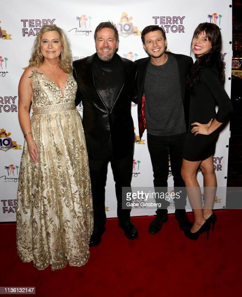 Angie Fiore Fator and her husband comic ventriloquist and impressionist Terry Fator magician Mat Franco and his fiancee Tianna Scartabello attend...