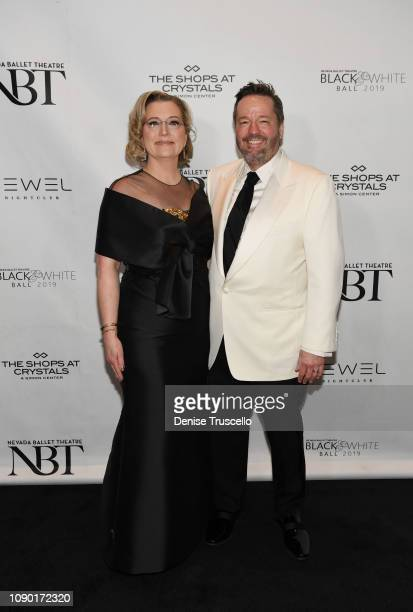 Angie Fiore Fator and Terry Fator arrive at Nevada Ballet Theater's 35th Annual Black And White Ball at Aria on January 26 2019 in Las Vegas Nevada