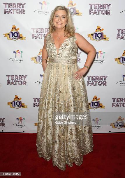 Angie Fiore Fator attends Terry Fator's 10th anniversary show at The Mirage Hotel Casino on March 15 2019 in Las Vegas Nevada